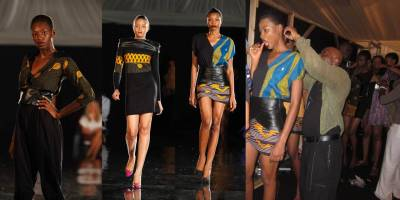 Favourite khanga moment #2 :: When Khanga meets leather… on the runway! We love leather almost as much as khanga so merging the two was inevitable. At Arise Magazine Fashion Week 2011.