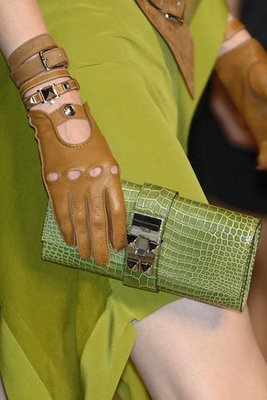 Hermes S/S09 Medor clutch bag in green croc.