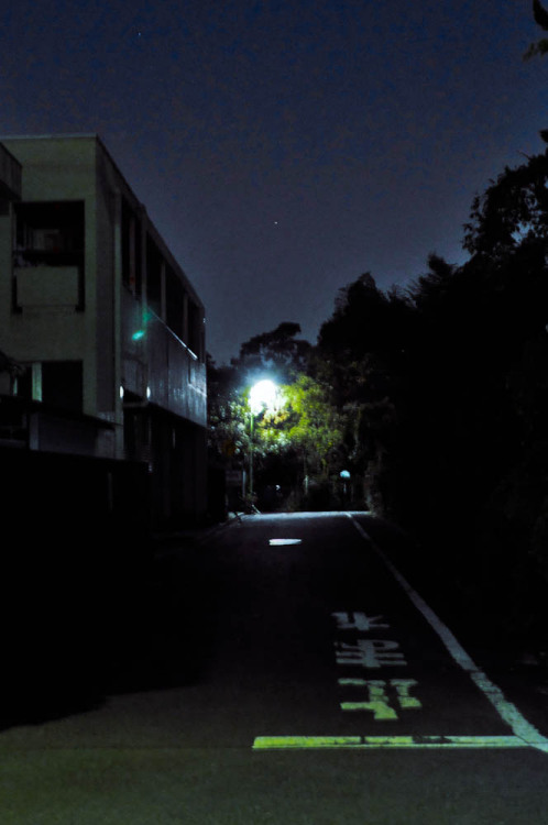 Just a dark street. Too bad the picture's blurry, I'll try to take a better one next time - uploading this for reference if I ever do so… Kinda like how the colors turned out though. Also I've been too scared to go and see what's at the end of this path (yet). Maybe next time, mystery path!