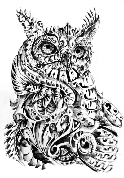 rene-art:  Observer Abstract interpretation of the Great Horned Owl Black ball point pen | App. 3.5 Hours. Larger View.