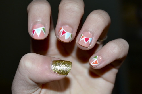 My nails this week! Party banners for my sixteenth birthday party this week!