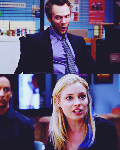 TV Trope: Expository Hairstyle Change  Britta: Life has gone to hell, Abed! This is real. Look at us. Look at me!Jeff: Britta. You put one wash-away blue streak in your hair and I lost an arm.Britta: Exactly. Life got dark! (3.04 Remedial Chaos Theory)