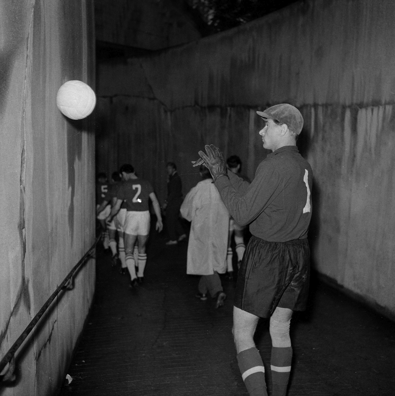 Lev Yashin in the tunnel before the 1960 European Nations Cup final.