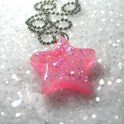 when stars and pink opals fall in love… a necklace made by me, isewcute by isewcute on Flickr.