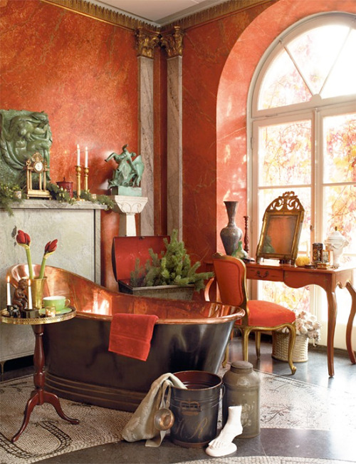Beautiful and luxurious Boho bathroom with sponged orange walls, carefully placed vintage details, and an enviable free-standing copper bathtub (via One Luxury Bathroom ♥ Една луксозна баня | 79 Ideas - a blog about decoration, design, decor, fashion, food and other pretty things)