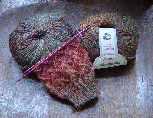 knitwitsblog:  pretty yarn + pretty pattern = pretty socks  Ooh I need this yarn. Jojoland Melody. Right.