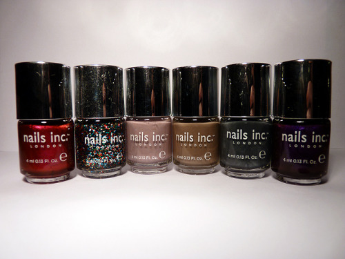 nolackoflacquer:  FIFTY FOLLOWER GIVEAWAY! The winner of the giveaway will receive their choice of three out of the six Nails Inc. minis pictured above (l-r: Burlington Arcade, Edinburgh Gate, Lowndes Square, Lennox Gardens, Berkely Square, Leicester Square), a 50ml tube of Kensington caviar hand cream, a glass nail file, and one or two other nail-related goodies from around my room. Rules: 1. You need to reblog this post to enter. Once you have, you can also like it for an additional entry. Likes without reblogs will not count as an entry.2. You do not need to follow No Lack Of Lacquer for your entry to count, but I'd be very appreciative if you did. :)3. The giveaway will close on December 10th (Saturday) and I will contact the winner via ask box for their address the same day. The winner will be chosen using a random number generator.4. I will ship internationally! If the winner lives outside the UK and would prefer me not to ship until after Christmas to avoid the rush, I will do so. Otherwise, the prize will be shipped out on December 12th (Monday). Thank you and good luck!