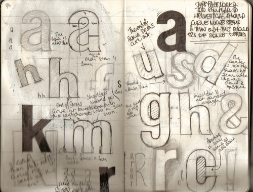 moleskinelovers:  The Moleskine of a designer. I tried to design a font based on helvetica, but as you can see just ended up as a shity version of helvetica.  Thomas Cullen