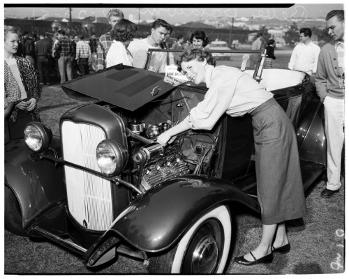 On this day in 1951: a hot rod jamboree at Hamilton High School in Los Angeles.