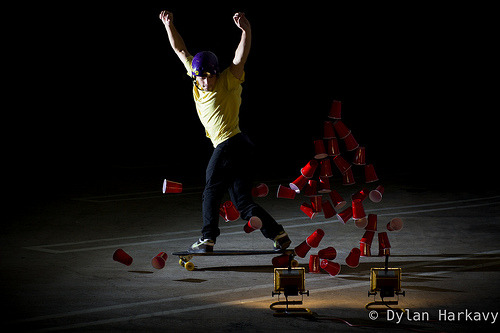 Explosion of cups (by Loaded Boards and Orangatang Wheels)