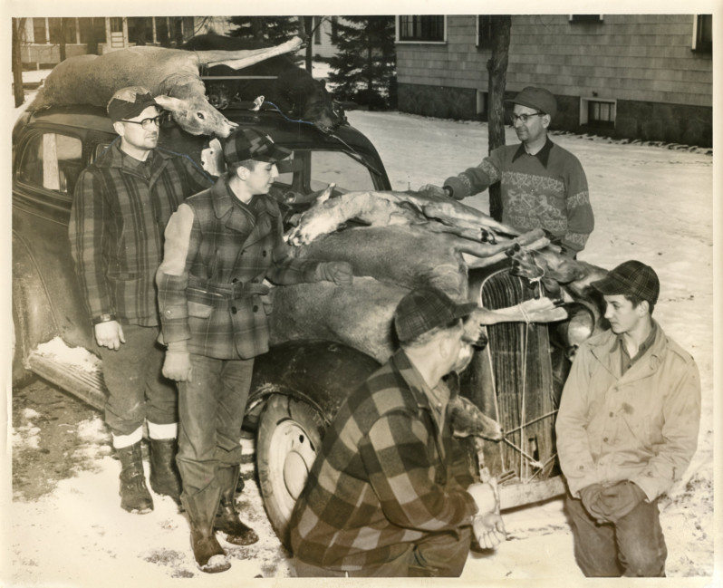 Tie the buck to the truck, Wisconsin Rapids, 1948-52. The customary way to transport the deer harvest from the woods to home. This group of deer hunters also bagged a small bear. Photo by Donald Krohn for the Wisconsin Rapids Daily Tribune. via: South Wood County Historical Corporation