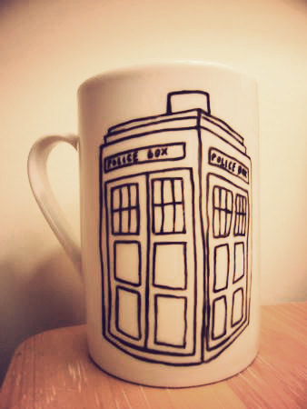 Dr Who's tardis : ) Hand drawn onto a mug by mrteacup on etsy, buy here - > mrteacup.etsy.com