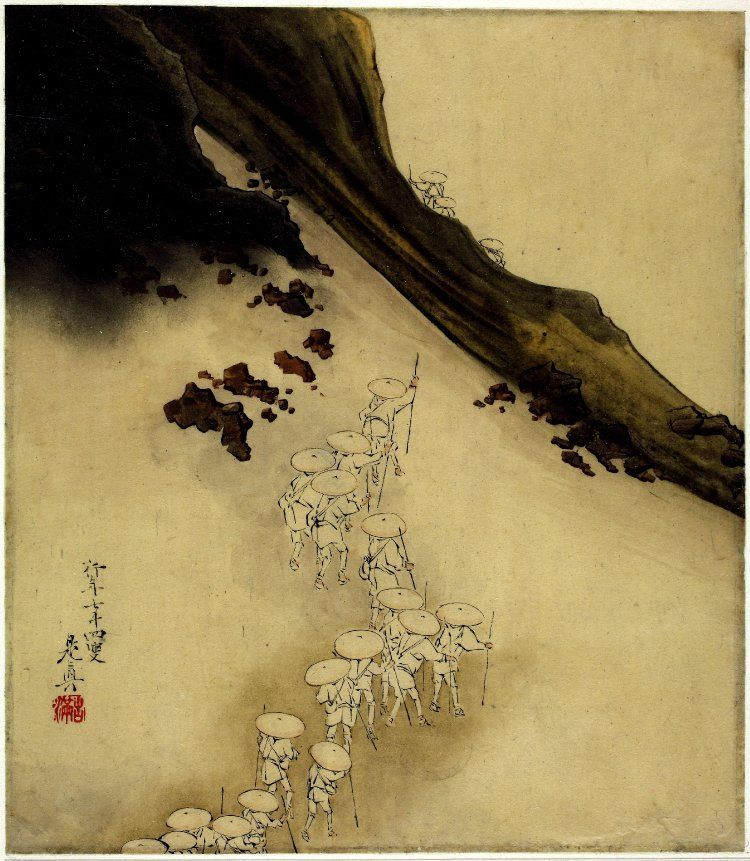 Shibata Zeshin (柴田是眞) Painting, album leaf. Pilgrims on slope of Mt Fuji: Pilgrims with  identical flat travelling hats, white clothing and staffs snaking way up  slopes of Mt Fuji; three companions disappearing over horizon. Lacquer  painting on paper. Signed and sealed. link