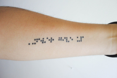 "This is my first tattoo on my forearm, it means ""Never give up"" in braille, is a phrase I will always use to remember my father, because he was a blind man. Made at LuaArt in Mexico."