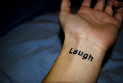 Freshly inked by Amanda at Osmosis tattoos in Richmond BC. The word laugh is something my Gramps always used to say to me; laugh- have fun, be crazy, and don't take anything too seriously, especially yourself. RIP Gramps, love you to the moon and back.