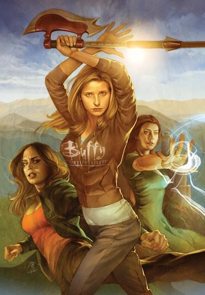 whedonesqued:  Jo Chen's cover art for the first Buffy Season 8 hardcover.  By the position of Faith's eyes it looks like she's looking at Buffy's ass