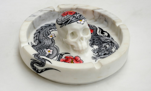 Ashtray Tattoo Sculpture by French artist Philippe Pasqua