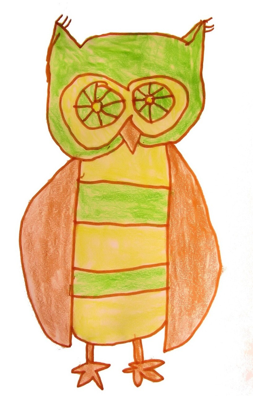 Un hibou dessiné par un enfant de cinq ans de ma classe (a drawing by a five years old child).