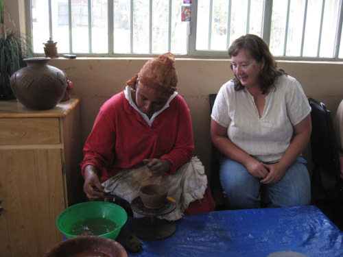 Connie Norman working with Tigist, the master potter of Vision on Africa.