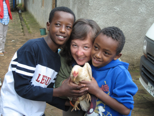 Connie Norman in Ethiopia with boys from one of the orphanages in Addis