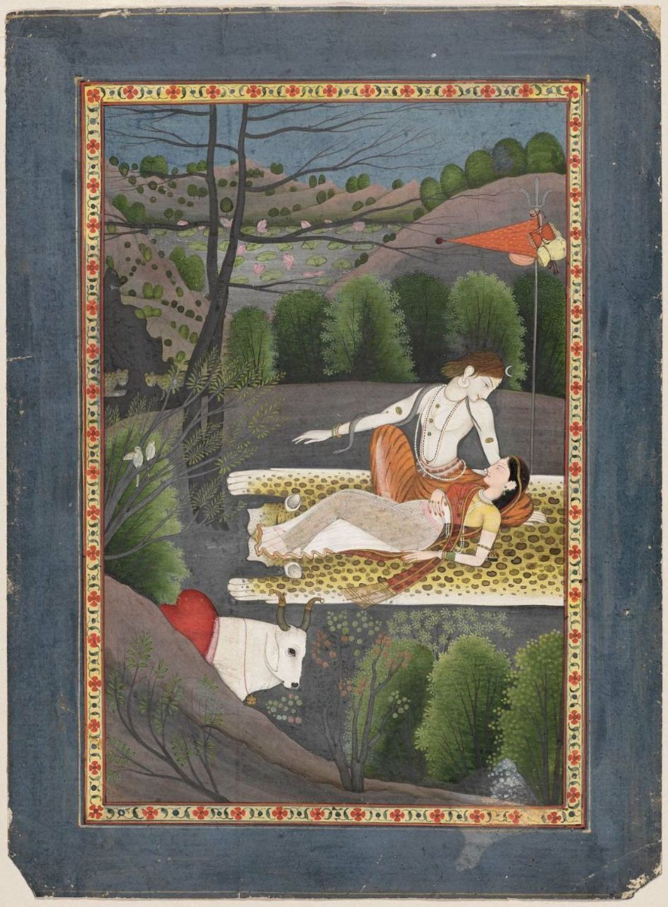 centuriespast:  Shiva watches Parvati Sleep  Indian, Pahari, about 1780–90 Garhwal or Kangra, Punjab Hills, Northern India Museum of Fine Arts Boston