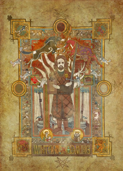 comicsalliance:    'Game of Thrones' Goes Gaelic in Gorgeous Illuminated Poster By Laura Hudson Noted comics illustrator and video game enthusiast Bill Mudron illustrated an absolutely gorgeous Game of Thrones poster inspired by Celtic illuminated manuscripts like The Book of Kells. Click through for more detail on Mudron's Flickr, where you can tiny skeletal, scenes from the epic novel series playing out in the borders. A great holiday gift for the Game of Thrones fan on your list? We think so.