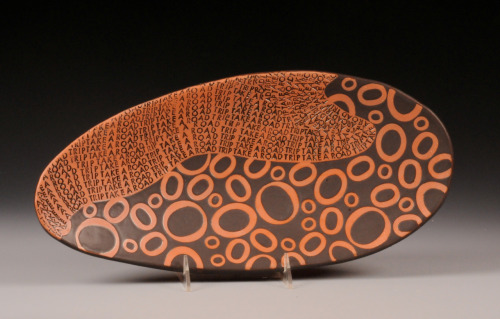 "Connie Norman: Take a Road Trip, 2010, Earthenware, 17"" x 6"" x 2"""