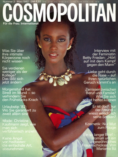 somalibeauty:  Iman on Cosmoplitan France. Pretty. supermodelshrine:  Iman, 1982   Iman on the cover of German French Cosmopolitan, March 1982.