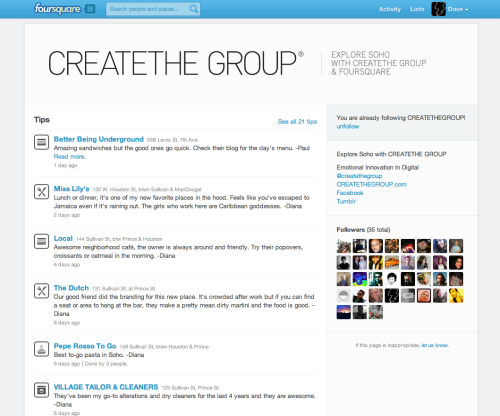 Recently launched the CREATETHEGROUP foursquare page. Give us a follow?