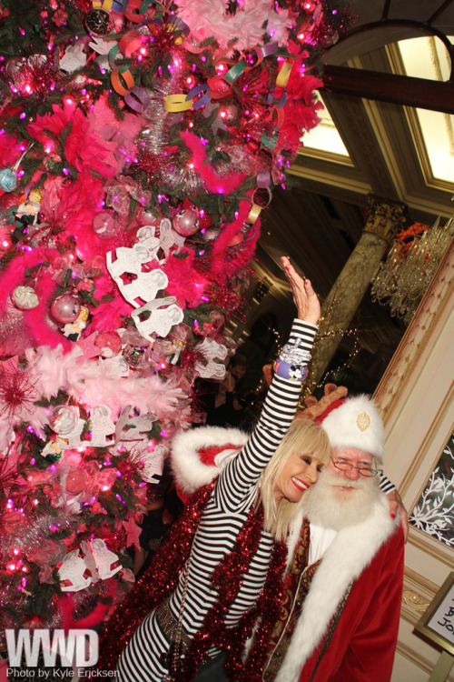 Love, love, love the tree + Betsey! - PopThreadswomensweardaily:  Betsey Johnson's Pink Christmas  On Monday night in the Palm Court of The Plaza hotel after a Christmas  Tree lighting and tea party in her honor, Betsey Johnson carried out  some mischief worthy of Eloise, the beloved children's lit character in  whose honor she has designed a suite for upstairs.
