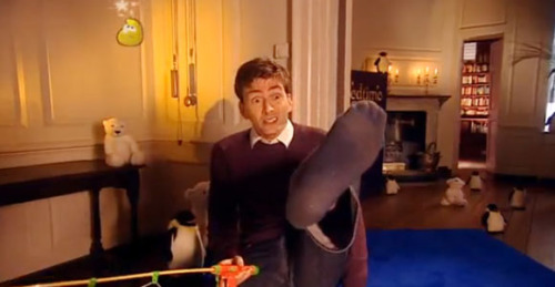 A fantastic screencap I took of David Tennant if I do say so myself. It's from the BBC show CBeebies where a bunch of the Doctor Who cast got a chance to tell bedtime stories. It's wonderful, check it out on The Mary Sue.