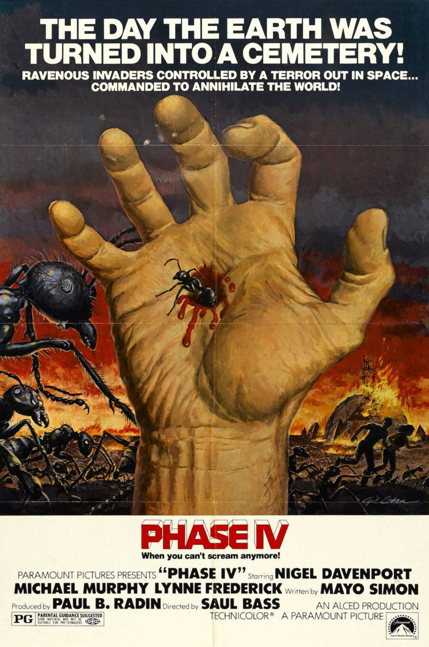 "This is Phase IV, the only feature film directed by legendary graphic designer Saul Bass.There's some rad images edited with a heckload of panache towards end of the trailer. Wiki on the plot: Due to some unknown cosmic event, listed in ""phases"", ants have undergone rapid evolution and developed a hive mind. A scientific team begins investigating strange towers and geometrically perfect designs that the ants have started building in the desert. The ant colony and the scientific team, along with a rural family, make war with each other, with the ants being the more effective aggressors. The narrative uses the scientific team as the main protagonists, but also an ant ""heroine"" going about her duties in the colony. The film concludes with the last of the cosmic ""phases,"" Phase IV, which promises a new future for all life on Earth."