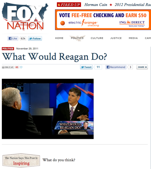 "reagan-was-a-horrible-president:  dropfox:  Fox News goes full Reagan.  Well let's see, what did Ronald Reagan do while President? He ignored the AIDS epidemic for SIX years, following discovery of the first cases in 1981. Reagan would ultimately address the issue of AIDS while president. His  remarks came May 31, 1987 (near the end of his second term), at the Third  International Conference on AIDS in Washington. When he spoke, 36,058 Americans  had been diagnosed with AIDS and 20,849 had died. The disease had spread to 113  countries, with more than 50,000 cases. Another of Reagan's enduring legacies is the steep increase  in the number of homeless people, which by the late 1980s had swollen to 600,000  on any given night – and 1.2 million over the course of a year. Many were  Vietnam veterans, children and laid-off workers. In early 1984 on Good Morning America, Reagan defended  himself against charges of callousness toward the poor in a classic  blaming-the-victim statement saying that ""people who are sleeping on the  grates…the homeless…are homeless, you might say, by choice."" He encouraged class warfare. He proclaimed that the enemy of the middle class was not the wealthy, but the poor. He LIED about ""fur coat-wearing welfare queens picking up their food stamps in limousines"" in order to divide our country. The father of the  Republican Party's fiscal irresponsibility, Ronald Reagan made skyrocketing  national debt, a dangerously reflexive aversion to taxes and a corrosive  distrust of the people's government a permanent fixture of American politics. Ronald Reagan made people distrust and actually hate their own government, even when they directly benefited from it every day. ""Government is not a solution to our problem,"" Ronald Reagan memorably remarked,  ""Government is the problem.""  Or he put it on another occasion:  ""'The nine most terrifying words in the English language are: 'I'm from  the government and I'm here to help.'""   By the end of his term, 138 Reagan administration officials had been convicted,  had been indicted, or had been the subject of official investigations for  official misconduct and/or criminal violations. In terms of number of officials  involved, the record of his administration was the worst ever. Plus…arms for hostages, no increase in the minimum wage for 10 years, gutting of environmental laws, and soooo many other things. These are just a few things that Reagan did. This is the guy that all the Republicans worship. He was a horrible president."