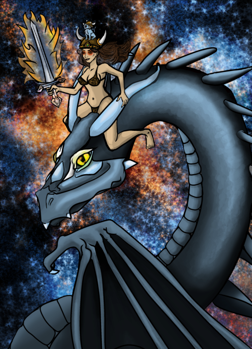 "Another Request for MoMoMonday. :) ""me riding a dragon while wearing a viking hat and carrying a flaming sword.In outer space with laser vision, OH and a fur bikini"" I don't think I missed anything… Yes, Jess is as epic as this illustration would have you think."