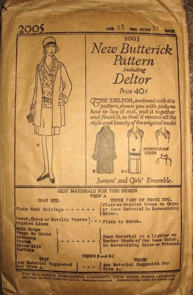 1920s Butterick pattern for juniors