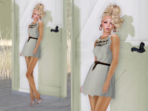 "#24  Skin: LAQ ~ Ebba - [Fair] - 01 by Mallory Cowen Lipstick: Shakeup - Lara lipstick+teeth [Carnation Pink] COMING SOON :P Hair: booN ARK554 hair blonde by boo Nakamura Hair base: booN gathered raised hairbase blonde by boo Nakamura Earrings: LaGyo_Ewa ram earrings bronze by Gyorgyna Larnia Necklace: LaGyo_Jan necklace by Gyorgyna Larnia  Dress: Fleshtone Essentials :: Wrap Dress [White] by Stevenzuuh Gossipgirl (NEW!) Shoes: N-core CHIC ""Neige"" by Claire Messenger  Pose: *EverGlow* - Model490 by Fanny Willis Location: Humanoid"