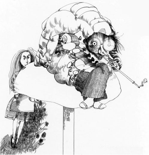 "Ralph Steadman - Alice and the Caterpillar I like this but I'm a little surprised that it's not more ""gonzo"". then again, i guess not all of his art has to be the same style."
