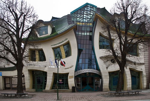 The funniest house in Poland, called Krzywy Domek (Crooked House). I wish I had such house!!! Source: panoramio.com