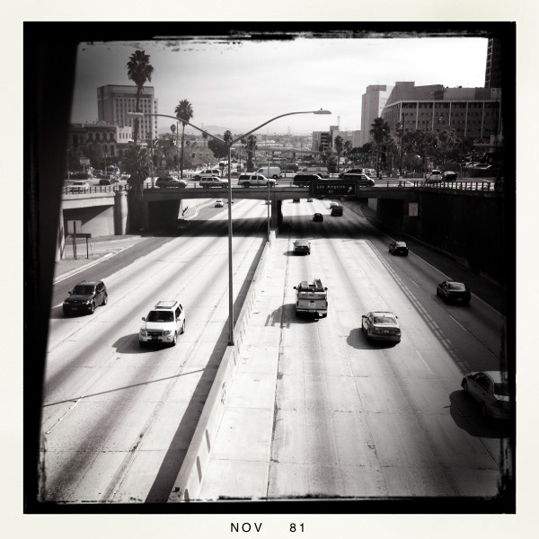 The 110 from downtown Los Angeles Lucifer VI Lens, BlacKeys B+W Film, No Flash, Taken with Hipstamatic
