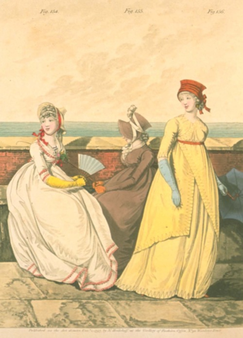 Gallery of Fashion, October 1797.  I love the pairing of the yellow gown and the blue gloves, and that brown bonnet is adorable!