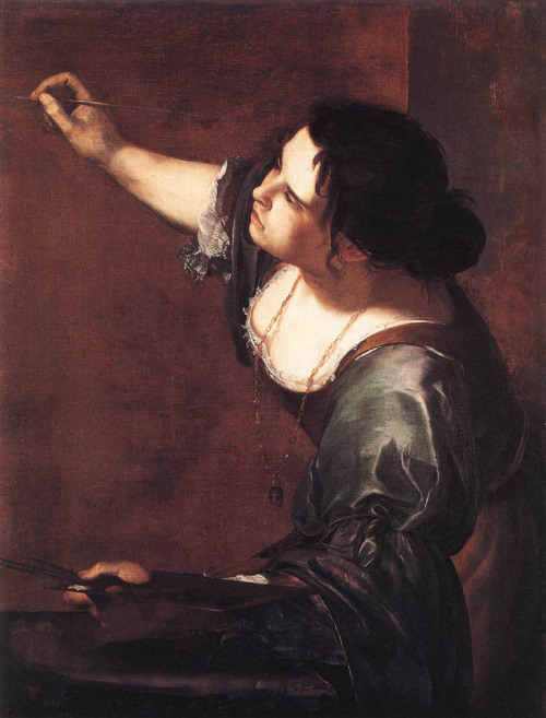 fuckyeahhistorycrushes:  [TW] Artemisia Gentileschi (1593–1652) was an Italian Baroque painter and a completely kickass lady. One of her best known paintings is the gory Giuditta che decapita Oloferne, (Judith Beheading Holofernes), which she painted when she was nineteen years old during the trial of her rapist, Agostino Tassi. The trial was a grueling and humiliating ordeal for Artemisia, who had to undergo a gynecological exam and torture with thumbscrews to determine if she was telling the truth. Tassi was eventually found guilty, but never faced punishment for his crimes. It's clear from her painting what Artemisia's feelings on the subject were.  She is one of my favorite painters because of her style and subjects of her paintings. Amazing woman and courageous artist.