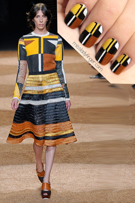 MANICURE MUSE: Proenza Schouler SP'12 I'm loving the retrospective approach to the collections this season- Prada, Fendi, and Proenza to name a few. The 1940s refined silhouettes have always caught my eye, though it's probably not the decade I'd choose to teleport to (I've only seen Taking Woodstock 8 times, but who's counting?). Proenza Schouler has always been one of my favorite designers. Jack and Lazaro always get it right, and while the second half of the show stole my heart with the leaf printed midi dresses, this striped geographic look called Miss Ladyfinger's name. Featured here: Mimosa (Chanel), Power Clutch (Essie), Vinyl (Orly), and White (Kiss Nail Art Paint). (Photo: Causewaymall.com)