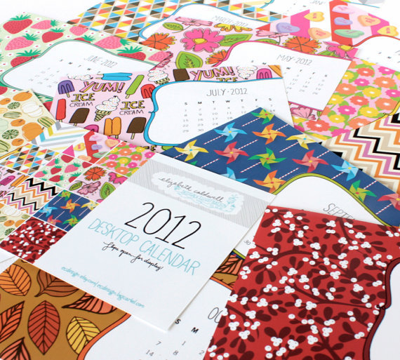 My 2012 Desktop Calendar - Now available in my Etsy shop!