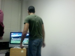 Playing Wii Tennis