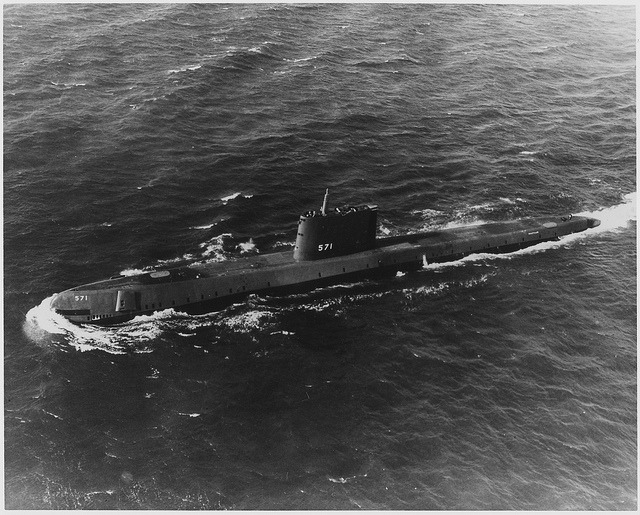 USS Nautilus (SS-571), the Navy's first atomic powered submarine, on its initial sea trials, 01/20/1955 by The U.S. National Archives on Flickr.