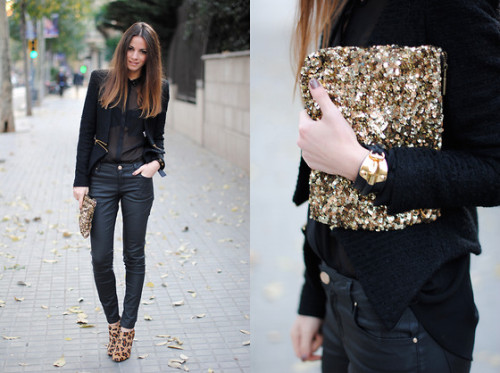 that clutch is incredibleLeopard Boots & Sequins (by Zina CH)