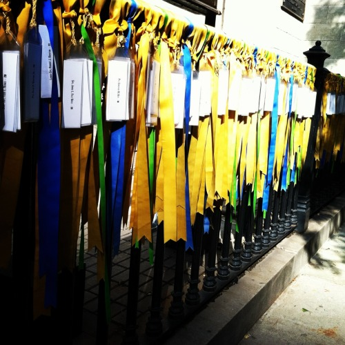 5th Ave @ 29th Street,  NYC Prayers for Peace The ribbons represent prayers for the thousands of people who have lost their lives in Iraq and Afghanistan.