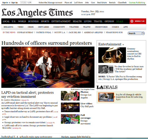 #OccupyLA - Los Angeles Times - November 29, 2011 - 11:32am