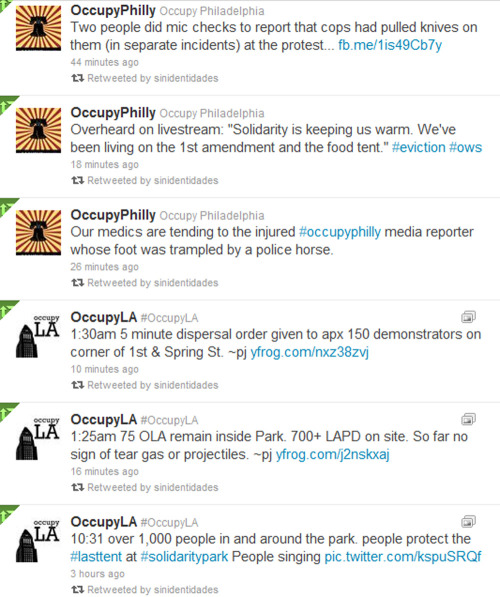 Twitter Feed of #OccupyPhilly and #OccupyLA evictions
