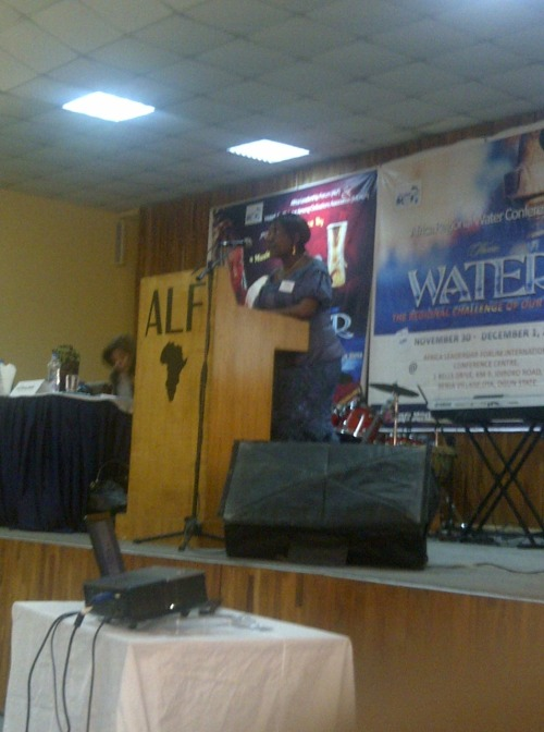 Dr. Grace Ongile takes the stage now to discuss issues surrounding women and water.